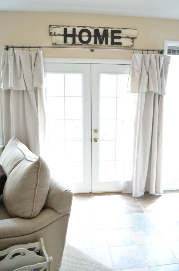 Cheap DIY Living Room Decor Ideas - Drop Cloth Curtain - Cool Modern, Rustic Creative Farmhouse Home Decor On A Budget - Do It Yourself Coffee Tables, Wall Art, Rugs, Pillows and Chairs. Step by Step Tutorials and Instructions #diydecor #livingroom #decorideas