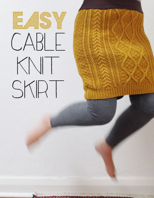 DIY Clothes for Winter - Easy Cable Knit Skirt - Cool Fashion Ideas to Make for Cold Weather - Handmade Scarves, Hats, Coats, Gloves and Mittens, Sweaters and Wraps - Easy Sewing Tutorials and No Sew Items - Creative and Quick Homemade Gifts and Christmas Present Ideas http://diyjoy.com/diy-clothes-winter