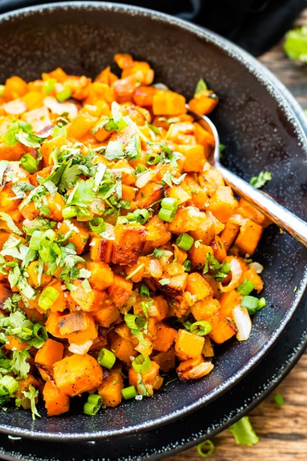 Sweet Potato Recipes - Easy Skillet Sweet Potatoes With Cilantro - Easy Recipe Ideas for Sweet Potatoes in the Crockpot, Casserole Dishes, Baked, Mashed, Candied and Roastedd - Healthy Versions of Sweet Potatoes for Thanksgiving - Dinner, Lunch and Side Dishes #recipes
