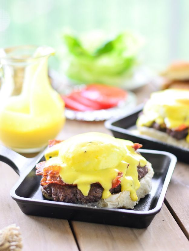 Eggs Benedict Recipes - Eggs Benedict Burger - Best Benedicts and Recipe Ideas for Breakfast, Brunch and Lunch - Easy and Quick Eggs Benedict, Classic, Salmon, Vegetarian and Healthy Variations - How to Make Hollandaise Sauce - Pioneer Woman Favorites - Eggs Benedict Casserole for A Crowd http://diyjoy.com/eggs-benedict-recipes