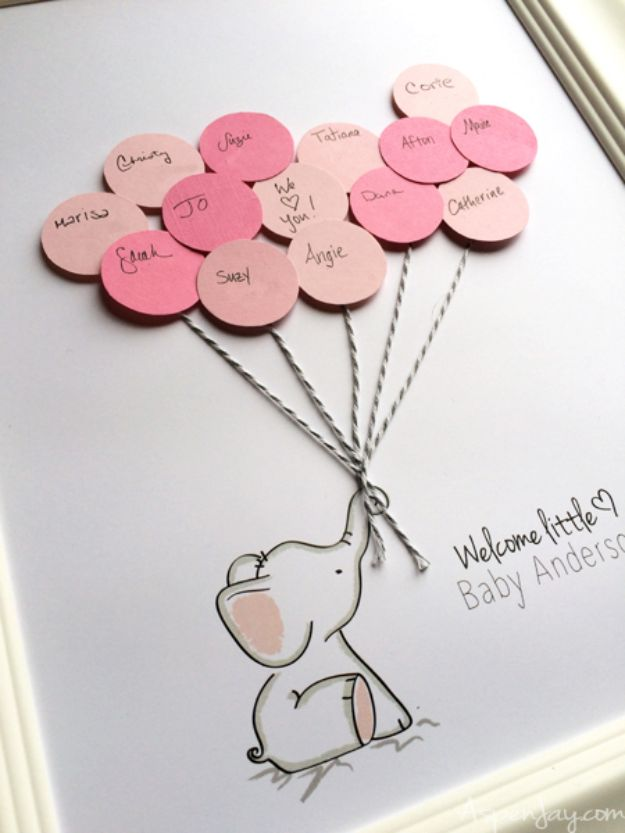 DIY Baby Shower Decorations - Elephant Baby Shower Guest Book Printable - Cute and Easy Ways to Decorate for A Baby Shower Ideas in Pink and Blue for Boys and Girls- Games and Party Decor - Banners, Cake, Invitations and Favors http://diyjoy.com/diy-baby-shower-decorations