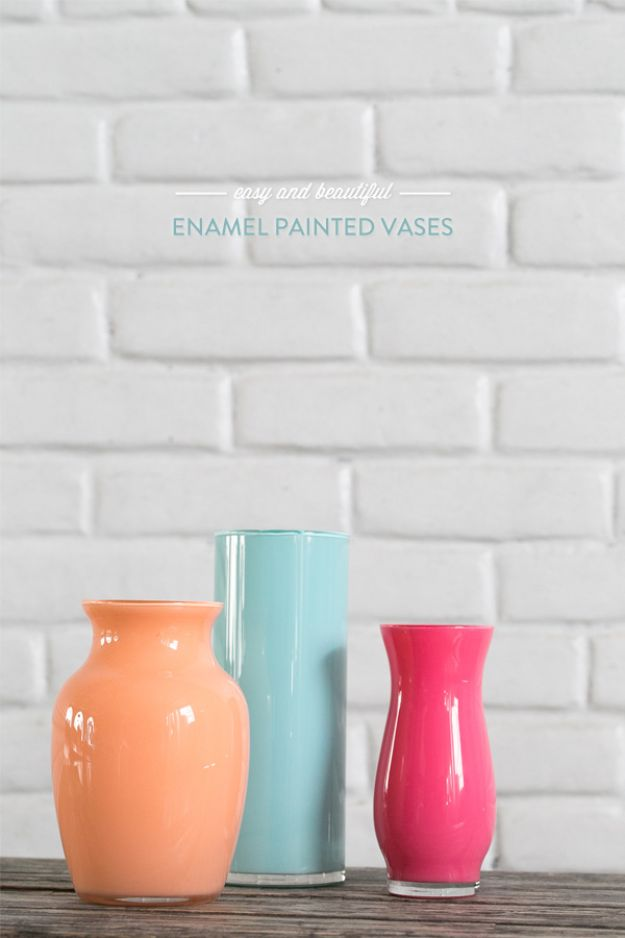 Cheap DIY Living Room Decor Ideas - Enamel Painted Vases - Cool Modern, Rustic Creative Farmhouse Home Decor On A Budget - Do It Yourself Coffee Tables, Wall Art, Rugs, Pillows and Chairs. Step by Step Tutorials and Instructions #diydecor #livingroom #decorideas