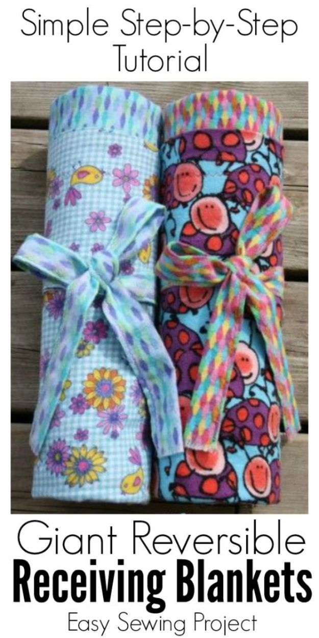 DIY Baby Blankets - Extra-Large, Reversible, Flannel Receiving Blankets for Baby - Easy No Sew Ideas for Minky Blankets, Quilt Tutorials, Crochet Projects, Blanket Projects for Boy and Girl - How To Make a Blanket By Hand With Fleece, Flannel, Knit and Fabric Scraps - Personalized and Monogrammed Ideas - Cute Cheap Gifts for Babies  #babygifts