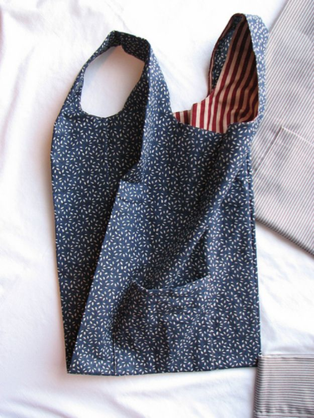 DIY Shopping Bags - Fabric Grocery Bags - Easy Drawstring Bag Tutorials - How To Make A Shopping Bag - Use Fabric Scraps, Old Denim Jeans, Upcycled Items - Cute Monogrammed Ideas, Painted Bags and Sewing Tutorials for Beginners http://diyjoy.com/diy-drawstring-bags