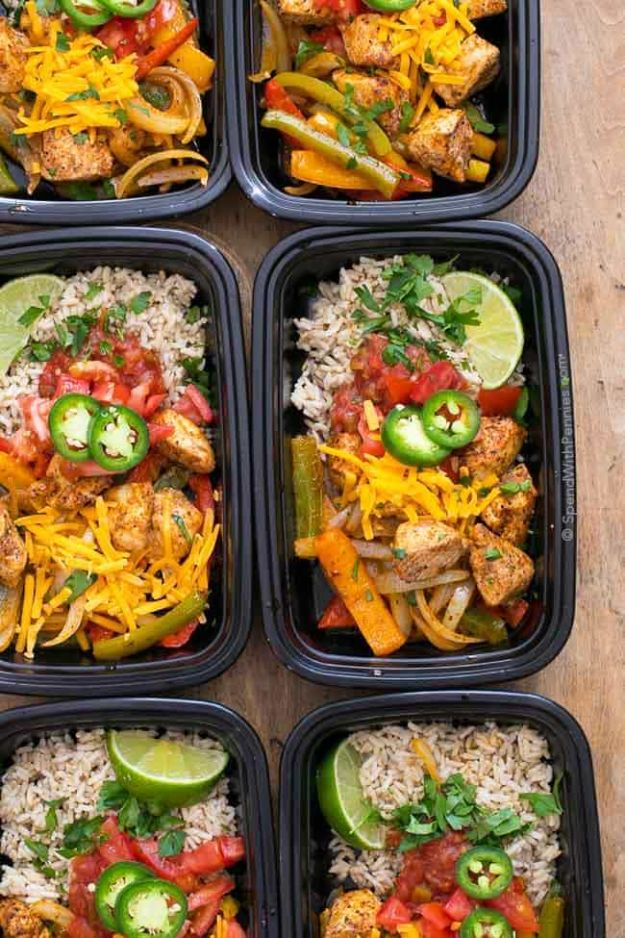 Meal Prep Ideas - Fajita Meal Prep Bowls - Recipes and Planning Tips for Making a Week of Meals - Easy, Healthy Recipe Ideas to Make Ahead - Weeknight Dinners Lunches - Crockpot Lunches, Slow Cooker Meals, Freeze Ahead http://diyjoy.com/meal-prep-ideas