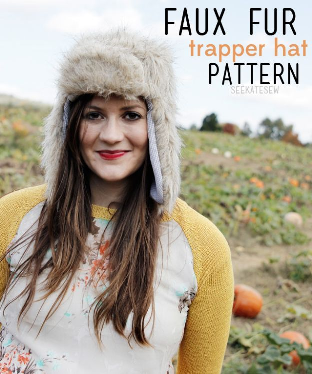 DIY Clothes for Winter - Faux Fur Trapper Hat - Cool Fashion Ideas to Make for Cold Weather - Handmade Scarves, Hats, Coats, Gloves and Mittens, Sweaters and Wraps - Easy Sewing Tutorials and No Sew Items - Creative and Quick Homemade Gifts and Christmas Present Ideas http://diyjoy.com/diy-clothes-winter