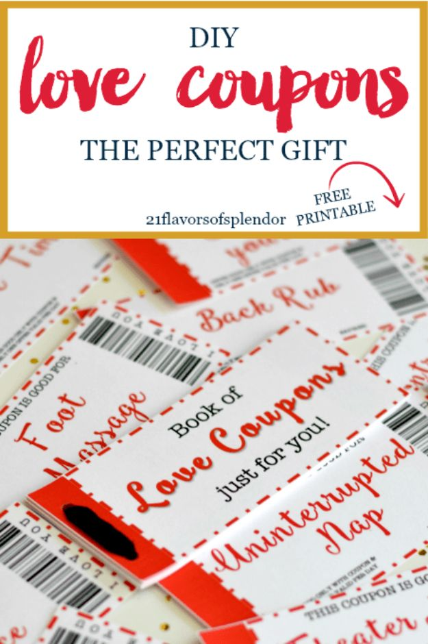 DIY Anniversary Gifts - Free Printable Love Coupons The Perfect Gift - Homemade, Handmade Gift Ideas for Wedding Anniversaries - Cool, Easy and inexpensive Gifts To Make for Husband or Wife #anniverary #diy #gifts