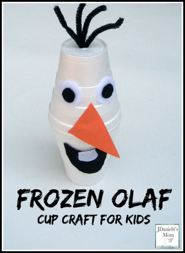 Winter Crafts for Toddlers and Kids - Frozen Olaf Cup Craft for Kids - Easy Art Projects and Craft Ideas for 2 Year Olds, Preschool Age Children - Simple Indoor Activities, Things To Make At Home in Wintertime - Snow, Snowflake and Icicle, Snowmen - Classroom Art Projects - Busy Bags and Quick and Easy Gifts - Cheap Kid Crafts From The Dollar Store and Dollar Tree http://diyjoy.com/winter-crafts-for-kids