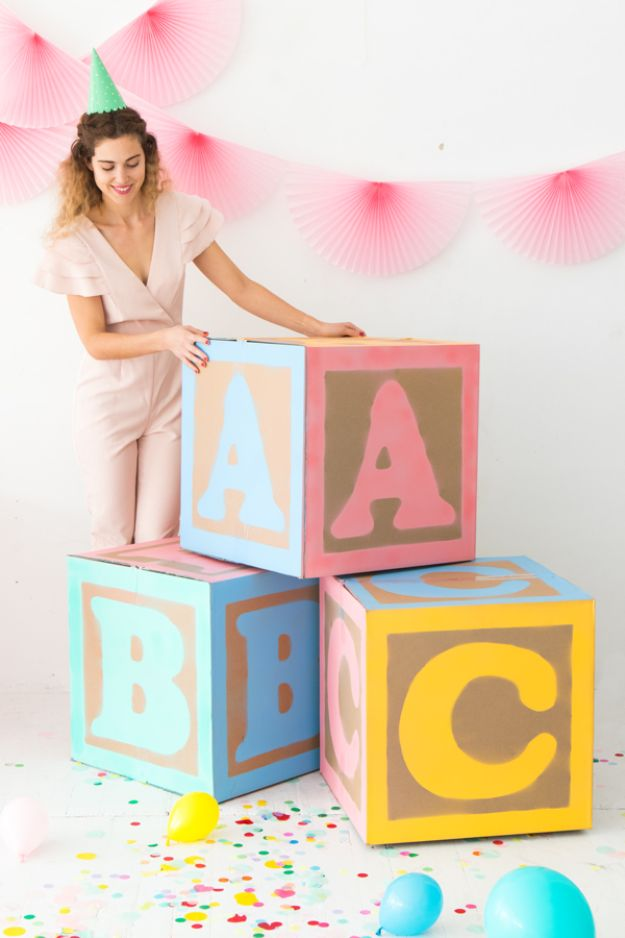 DIY Baby Shower Decorations - Giant Baby Block Decorations - Cute and Easy Ways to Decorate for A Baby Shower Ideas in Pink and Blue for Boys and Girls- Games and Party Decor - Banners, Cake, Invitations and Favors http://diyjoy.com/diy-baby-shower-decorations