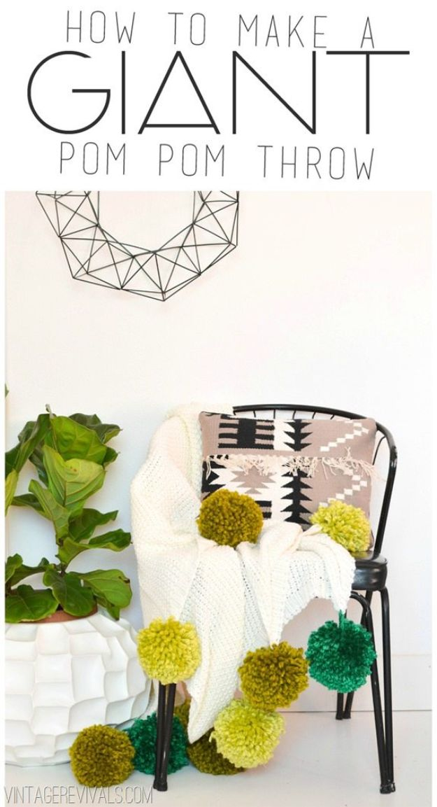 Cheap DIY Living Room Decor Ideas - Giant Ombre Pom Pom Blanket - Cool Modern, Rustic Creative Farmhouse Home Decor On A Budget - Do It Yourself Coffee Tables, Wall Art, Rugs, Pillows and Chairs. Step by Step Tutorials and Instructions #diydecor #livingroom #decorideas