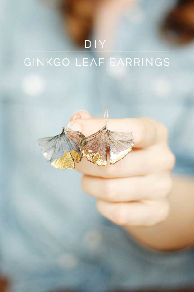 Cheap Last Minute Gifts DIY - Ginkgo Leaf Earrings - Inexpensive DIY Gift Ideas To Make On A Budget - Homemade Christmas and Birthday Presents to Make For Mom, Dad, Daughter & Son, Kids, Friends and Family - Cool and Creative Crafts, Home Decor and Accessories, Fun Gadgets and Phone Stuff - Quick Gifts From Dollar Tree Items #diygifts #cheapgifts #christmasgifts