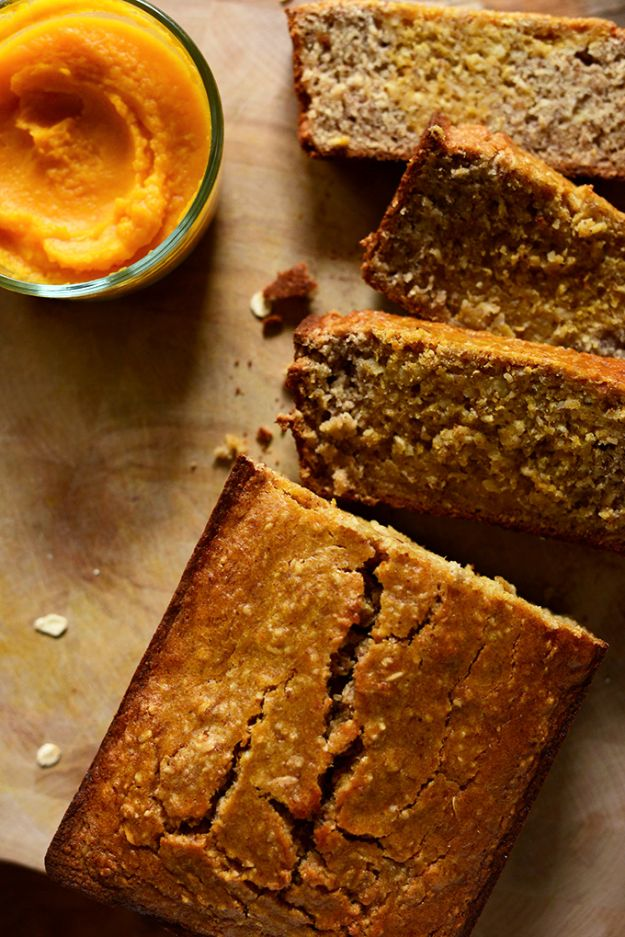 Butternut Squash Recipes - Gluten-Free Butternut Squash Banana Bread - Healthy and Hearty Butter Nut Recipe Ideas for Soup, Roasted, Baked, Instant Pot, Crockpot, Mashed- Pasta, Salad, Dessert and Easy Side Dishes - Paleo,and Gluten Free Versions, Thanksgiving Favorites http://diyjoy.com/butternut-squash-recipes