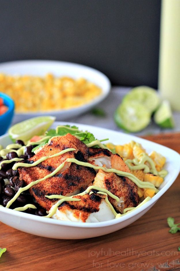 Tilapia Recipes - Grilled Tilapia Bowls With Chipotle Avocado Crema - Best Recipe Ideas for Tilapia Fish - Dinner, Lunch, Snacks and Appetizers - Healthy Foods, Gluten Free Low Carb and Keto Friendly Dishes - Salads, Pastas and Easy Weeknight Dinners, Lunches for Work - Broiled, Grilled, Lemon Baked, Fried and Quick Ways to Make Tilapia http://diyjoy.com/tilapia-recipes