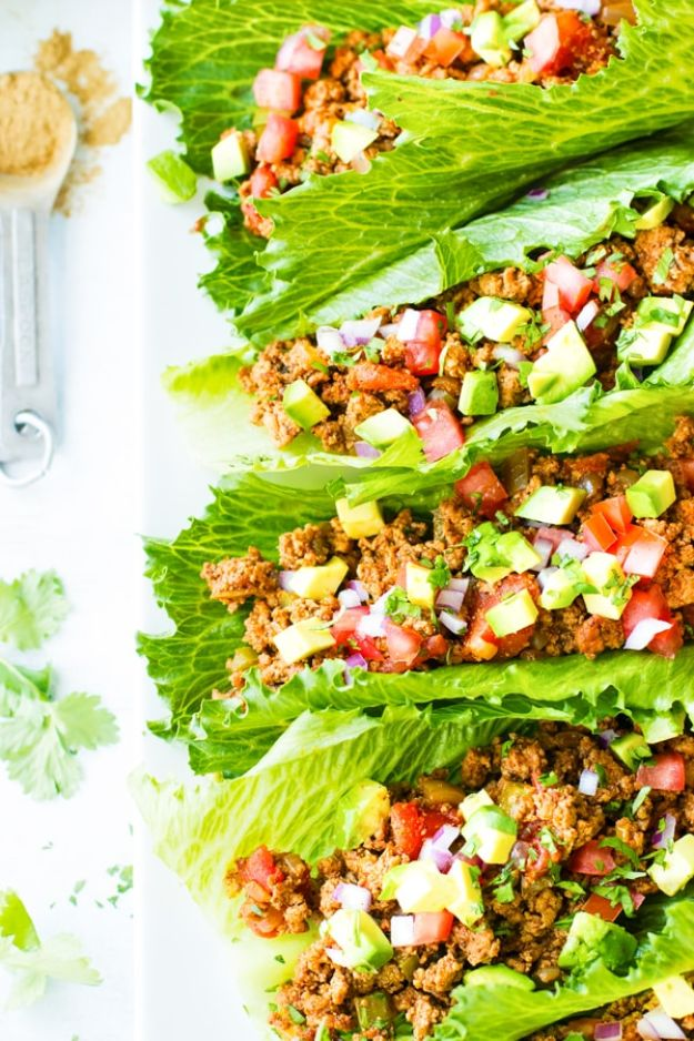 Ground Turkey Recipes - Ground Turkey Taco Lettuce Wraps - Healthy and Easy Turkey Recipe Ideas for Dinner, Lunch, Snack - Quick Crockpot and Instant Pot, Casserole, Meatballs, Pasta and Burgers - Keto Friendly and Low Carb, Paleo, Gluten Free http://diyjoy.com/ground-turkey-recipes