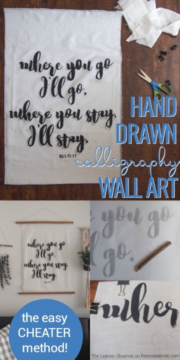 DIY anniversary Gifts - Hand Drawn Calligraphy Wall Art - Homemade, Handmade Gift Ideas for Wedding Anniversaries - Cool, Easy and inexpensive Gifts To Make for Husband or Wife #anniverary #diy #gifts