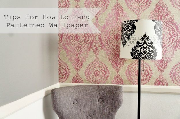 Wallpaper Tips and Tricks - Hang Wallpaper with a Pattern - Easy DIY Wallpapering Tutorials - How to Hang Wall Paper for Beginners - Step by Step Instructions and Cool Hacks for Hanging Wall Papers http://diyjoy.com/wallpaper-tips-tricks