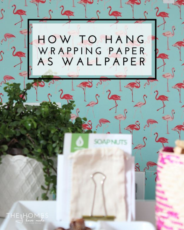 Wallpaper Tips and Tricks - Hang Wrapping Paper As Wallpaper - Easy DIY Wallpapering Tutorials - How to Hang Wall Paper for Beginners - Step by Step Instructions and Cool Hacks for Hanging Wall Papers http://diyjoy.com/wallpaper-tips-tricks