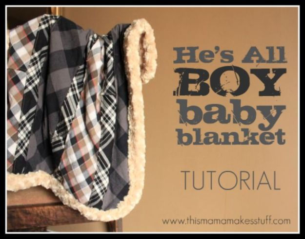 DIY Baby Blankets - He's All Boy Baby Blanket - Easy No Sew Ideas for Minky Blankets, Quilt Tutorials, Crochet Projects, Blanket Projects for Boy and Girl - How To Make a Blanket By Hand With Fleece, Flannel, Knit and Fabric Scraps - Personalized and Monogrammed Ideas - Cute Cheap Gifts for Babies  #babygifts