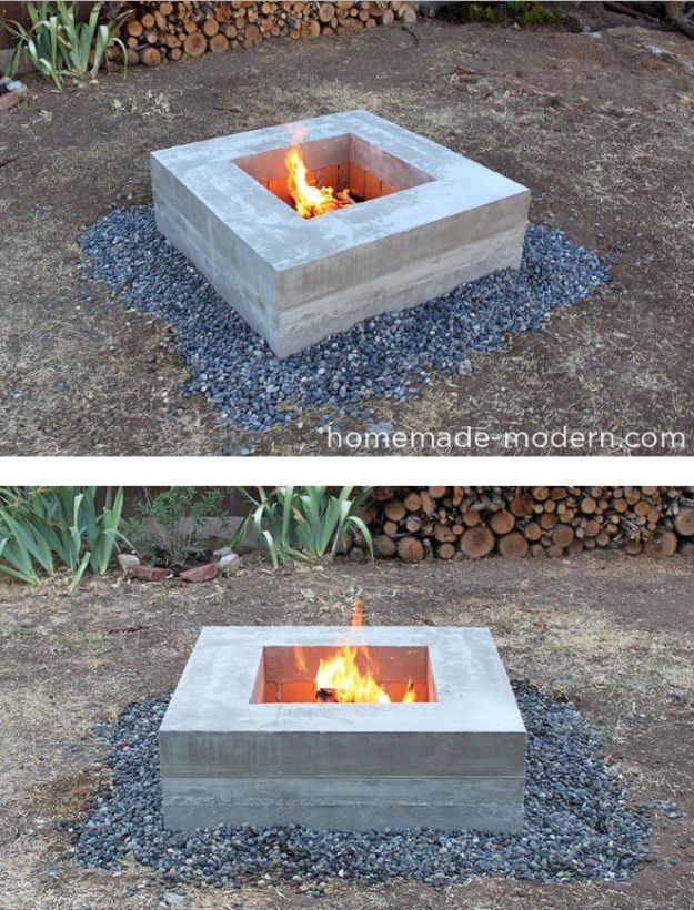 DIY Firepits - Homemade Concrete Fire Pit - Step by Step Tutorial for Raised Firepit , In Ground, Portable, Brick, Stone, Metal and Cinder Block Outdoor Fireplace #outdoors #diy