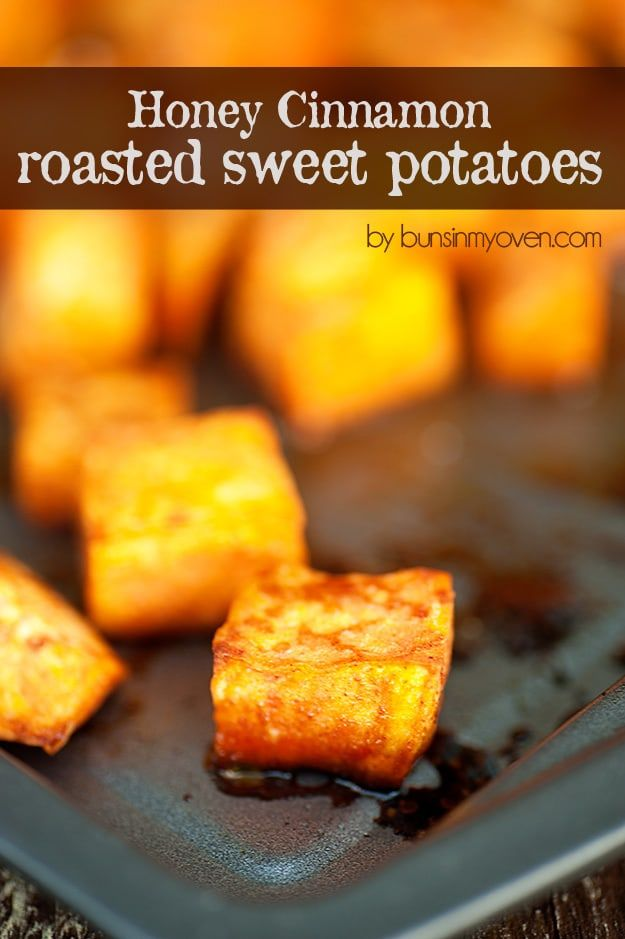 Sweet Potato Recipes - Honey Cinnamon Roasted Sweet Potatoes - Easy Recipe Ideas for Sweet Potatoes in the Crockpot, Casserole Dishes, Baked, Mashed, Candied and Roastedd - Healthy Versions of Sweet Potatoes for Thanksgiving - Dinner, Lunch and Side Dishes #recipes