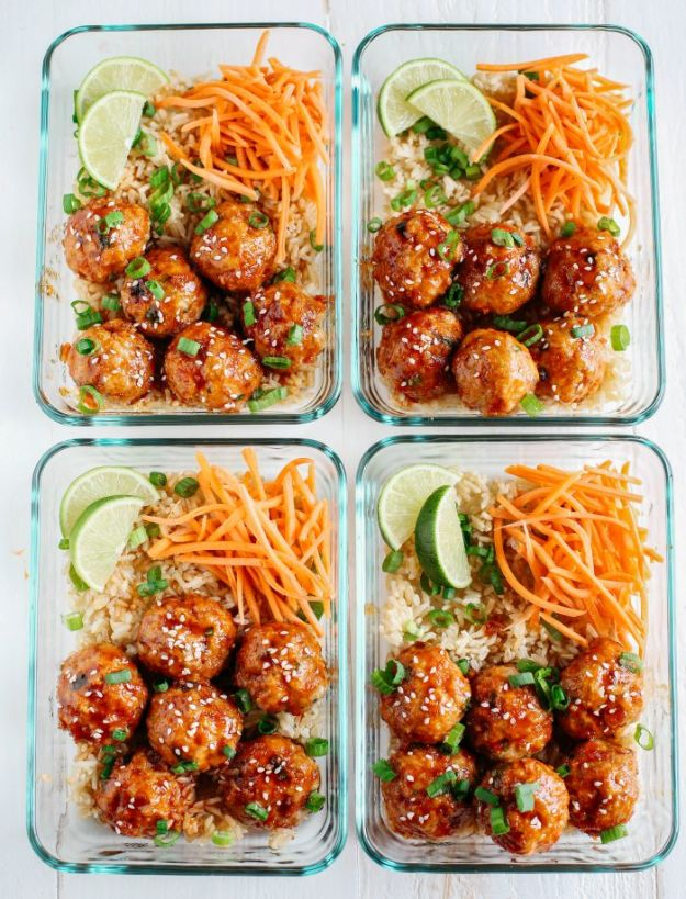 Meal Prep Ideas With Ground Beef - Honey Sriracha Glazed Meatballs - Easy Meal Prep Recipes for the Freezer - Weekly Meal Planning Recipes