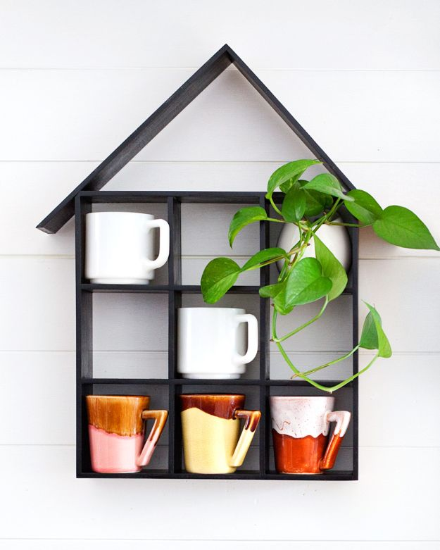 Cheap Last Minute Gifts DIY - House Shaped Shelf DIY - Inexpensive DIY Gift Ideas To Make On A Budget - Homemade Christmas and Birthday Presents to Make For Mom, Dad, Daughter & Son, Kids, Friends and Family - Cool and Creative Crafts, Home Decor and Accessories, Fun Gadgets and Phone Stuff - Quick Gifts From Dollar Tree Items #diygifts #cheapgifts #christmasgifts