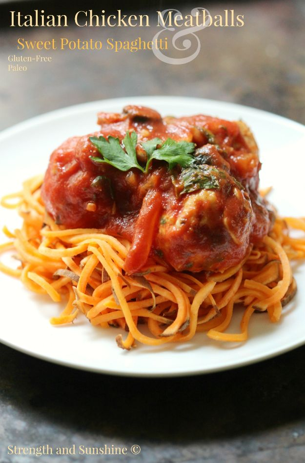 Sweet Potato Recipes - Italian Chicken Meatballs & Sweet Potato Spaghetti - Easy Recipe Ideas for Sweet Potatoes in the Crockpot, Casserole Dishes, Baked, Mashed, Candied and Roastedd - Healthy Versions of Sweet Potatoes for Thanksgiving - Dinner, Lunch and Side Dishes http://diyjoy.com/sweet-potato-recipes