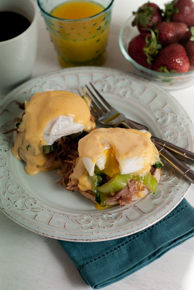 Eggs Benedict Recipes - Kalua Pork Eggs Benedict With Sriracha Hollandaise Sauce - Best Benedicts and Recipe Ideas for Breakfast, Brunch and Lunch - Easy and Quick Eggs Benedict, Classic, Salmon, Vegetarian and Healthy Variations - How to Make Hollandaise Sauce - Pioneer Woman Favorites - Eggs Benedict Casserole for A Crowd http://diyjoy.com/eggs-benedict-recipes