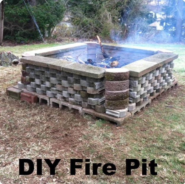 DIY Firepits - Large Cinder Block and Stone Firepit - Step by Step Tutorial for Raised Firepit , In Ground, Portable, Brick, Stone, Metal and Cinder Block Outdoor Fireplace #outdoors #diy
