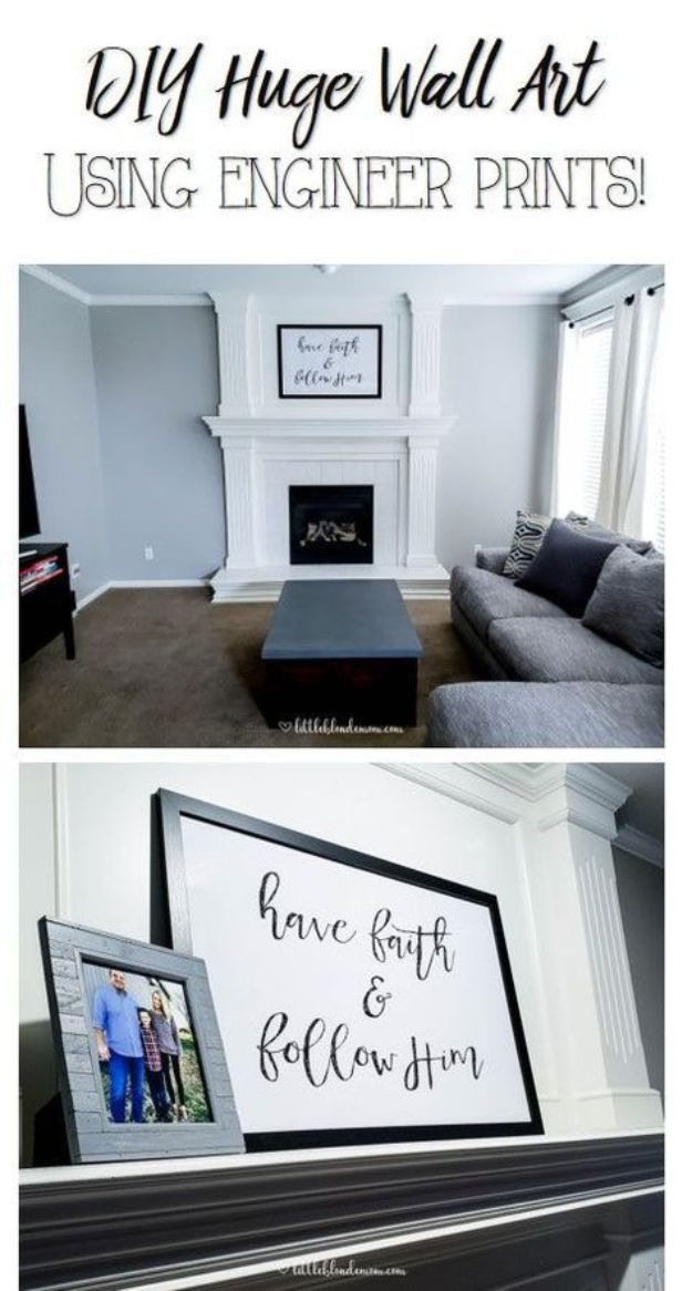 Cheap DIY Living Room Decor Ideas - Large Wall Decor - Cool Modern, Rustic Creative Farmhouse Home Decor On A Budget - Do It Yourself Coffee Tables, Wall Art, Rugs, Pillows and Chairs. Step by Step Tutorials and Instructions #diydecor #livingroom #decorideas