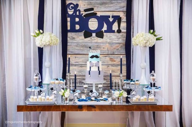DIY Baby Shower Decorations - Little Man Baby Shower - Cute and Easy Ways to Decorate for A Baby Shower Ideas in Pink and Blue for Boys and Girls- Games and Party Decor - Banners, Cake, Invitations and Favors http://diyjoy.com/diy-baby-shower-decorations