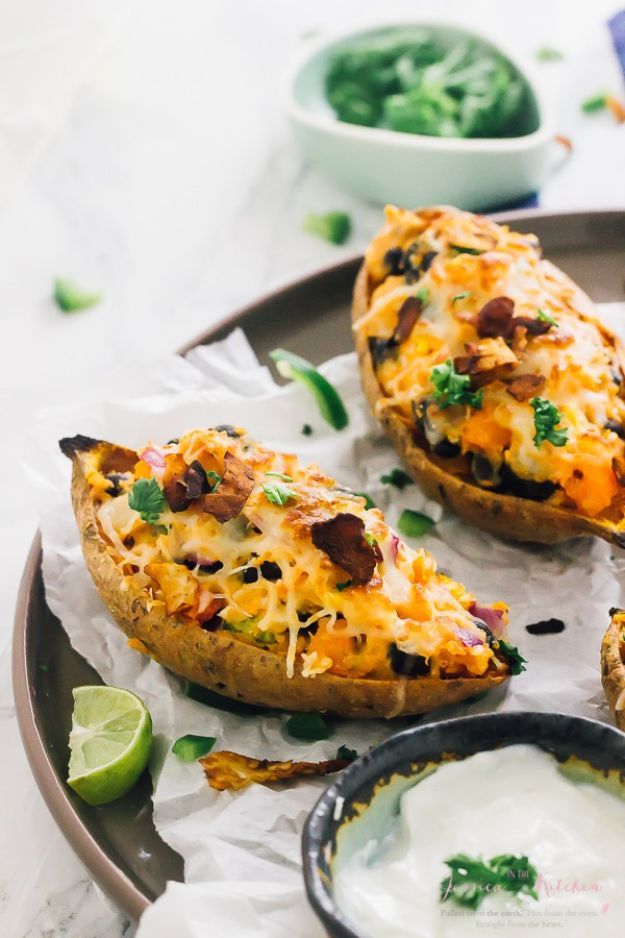 Sweet Potato Recipes - Loaded Sweet Potato Skins - Easy Recipe Ideas for Sweet Potatoes in the Crockpot, Casserole Dishes, Baked, Mashed, Candied and Roastedd - Healthy Versions of Sweet Potatoes for Thanksgiving - Dinner, Lunch and Side Dishes #recipes