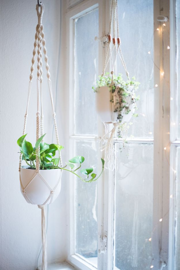 Cheap DIY Living Room Decor Ideas - Macrame Plant Hanger - Cool Modern, Rustic Creative Farmhouse Home Decor On A Budget - Do It Yourself Coffee Tables, Wall Art, Rugs, Pillows and Chairs. Step by Step Tutorials and Instructions http://diyjoy.com/cheap-diy-living-room-decor