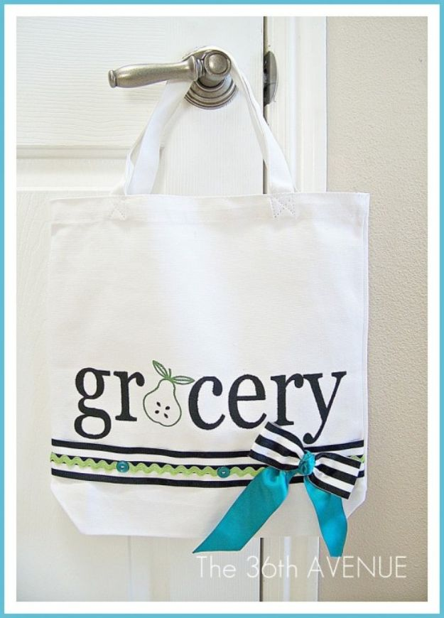 DIY Shopping Bags - Make A DIY Stenciled Grocery Tote - Drawstring Bag Tutorials - How To Make A Shopping Bag - Use Fabric Scraps, Old Denim Jeans, Upcycled Items - Cute Monogrammed Ideas, Painted Bags and Sewing Tutorials for Beginners http://diyjoy.com/diy-drawstring-bags