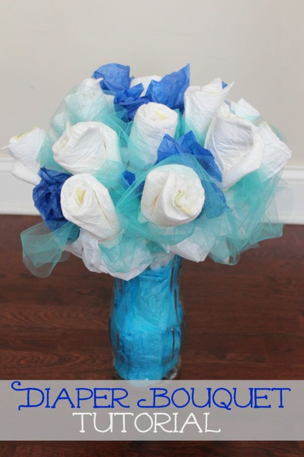 DIY Baby Shower Decorations - Make A Diaper Bouquet - Cute and Easy Ways to Decorate for A Baby Shower Ideas in Pink and Blue for Boys and Girls- Games and Party Decor - Banners, Cake, Invitations and Favors http://diyjoy.com/diy-baby-shower-decorations