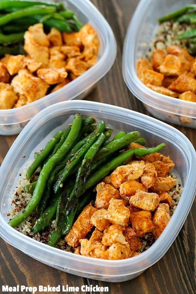 Meal Prep Ideas - Meal Prep Baked Lime Chicken Bowls - Recipes and Planning Tips for Making a Week of Meals - Easy, Healthy Recipe Ideas to Make Ahead - Weeknight Dinners Lunches - Crockpot Lunches, Slow Cooker Meals, Freeze Ahead http://diyjoy.com/meal-prep-ideas