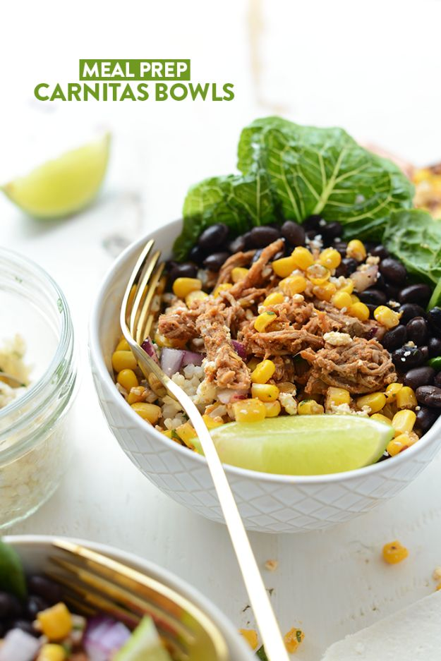 Easy Meal Prep for a Week Recipes - Meal Prep Carnitas Burrito Bowls - Mexican Recipe for Meal Prep - Bodybuilding Meals for Prepping