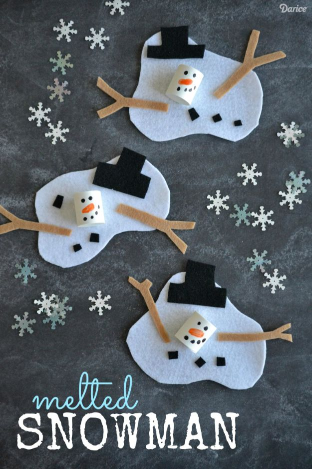 Winter Crafts for Toddlers and Kids -Melted Snowman Craft - Easy Art Projects and Craft Ideas for 2 Year Olds, Preschool Age Children - Simple Indoor Activities, Things To Make At Home in Wintertime - Snow, Snowflake and Icicle, Snowmen - Classroom Art Projects - Busy Bags and Quick and Easy Gifts - Cheap Kid Crafts From The Dollar Store and Dollar Tree http://diyjoy.com/winter-crafts-for-kids