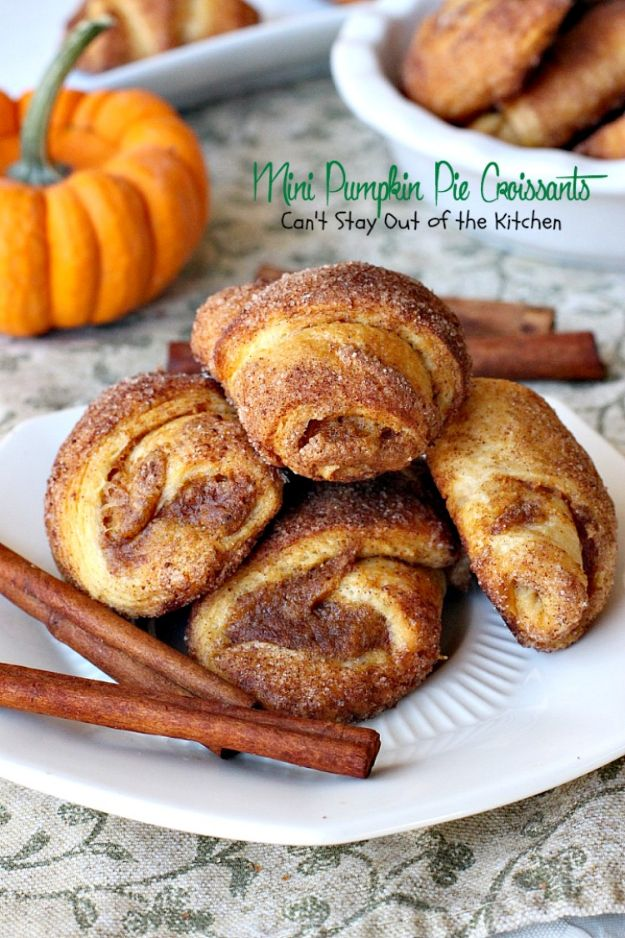 Pumpkin Recipes - Mini Pumpkin Pie Croissants - Easy Dessert Ideas, Dinner Meals With Pumpkin- Paleo, Gluten Free, Fresh and Healthy Pumpkin Recipes for Kids - Best Pumpkin Pie for Thanksgiving Desserts Healthy Pumpkin Ideas and Easy Bread, Pie, Dessert and Muffins - Recipe for Pumpkin Spice Apple Dishes, Paleo and Gluten Free Versions of Holiday Favorites - Breakfast, Lunch, Snack, Dinner and Dessert Recipes With Pumpkin Savory and Hearty Fall Meals - http://diyjoy.com/pumpkin-recipes