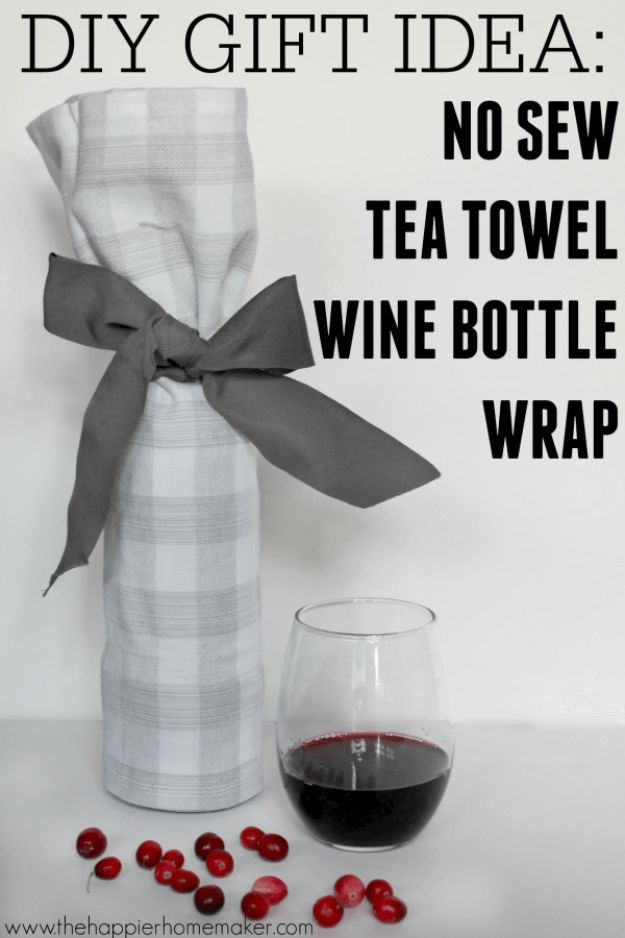 Cheap Last Minute Gifts DIY - No Sew Wine Bottle Wrap - Inexpensive DIY Gift Ideas To Make On A Budget - Homemade Christmas and Birthday Presents to Make For Mom, Dad, Daughter & Son, Kids, Friends and Family - Cool and Creative Crafts, Home Decor and Accessories, Fun Gadgets and Phone Stuff - Quick Gifts From Dollar Tree Items http://diyjoy.com/cheap-last-minute-gifts