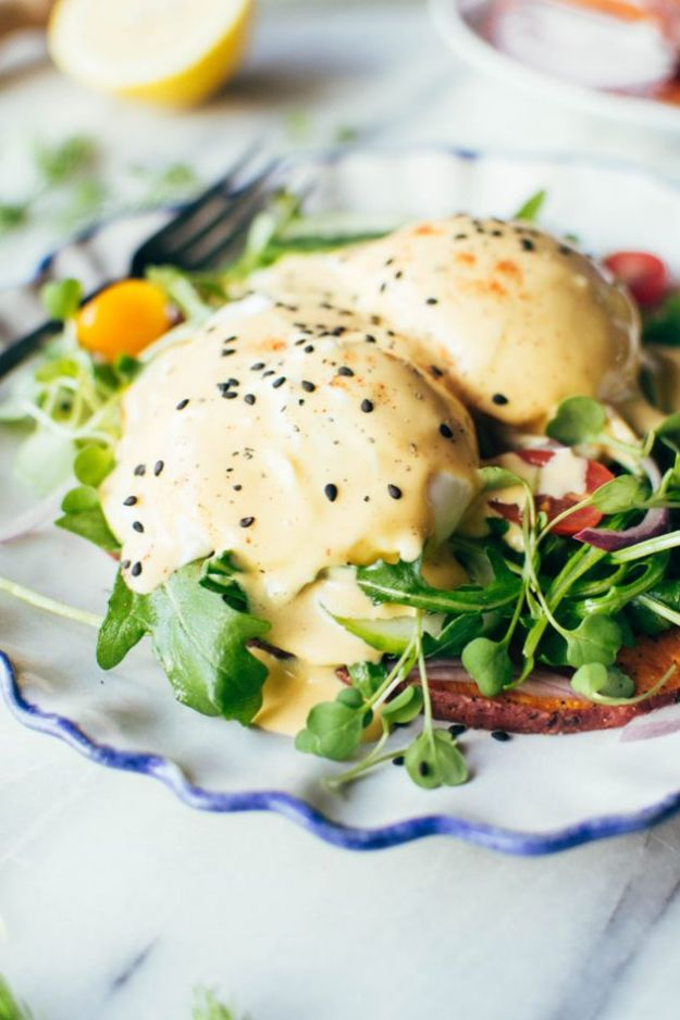 Eggs Benedict Recipes - Paleo Mediterranean Eggs Benedict - Best Benedicts and Recipe Ideas for Breakfast, Brunch and Lunch - Easy and Quick Eggs Benedict, Classic, Salmon, Vegetarian and Healthy Variations - How to Make Hollandaise Sauce - Pioneer Woman Favorites - Eggs Benedict Casserole for A Crowd http://diyjoy.com/eggs-benedict-recipes