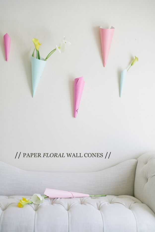 DIY Baby Shower Decorations - Paper Floral Wall Cones - Cute and Easy Ways to Decorate for A Baby Shower Ideas in Pink and Blue for Boys and Girls- Games and Party Decor - Banners, Cake, Invitations and Favors http://diyjoy.com/diy-baby-shower-decorations