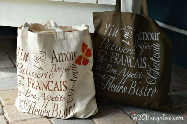 DIY Shopping Bags - Parisian Reuseable Washable DIY Grocery Bags - Easy Drawstring Bag Tutorials - How To Make A Shopping Bag - Use Fabric Scraps, Old Denim Jeans, Upcycled Items - Cute Monogrammed Ideas, Painted Bags and Sewing Tutorials for Beginners s
