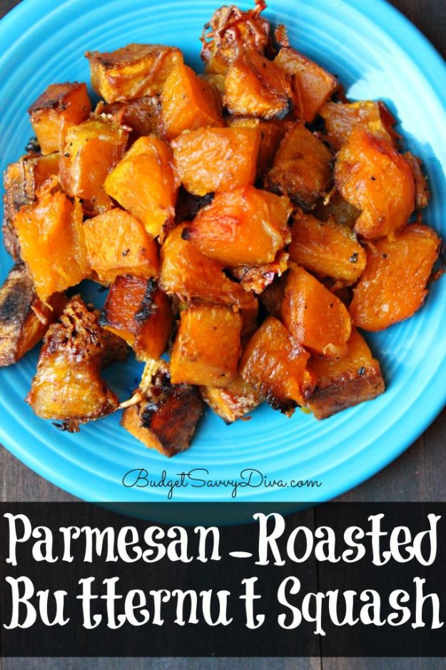 Butternut Squash Recipes - Parmesan Roasted Butternut Squash - Healthy and Hearty Butter Nut Recipe Ideas for Soup, Roasted, Baked, Instant Pot, Crockpot, Mashed- Pasta, Salad, Dessert and Easy Side Dishes - Paleo,and Gluten Free Versions, Thanksgiving Favorites http://diyjoy.com/butternut-squash-recipes