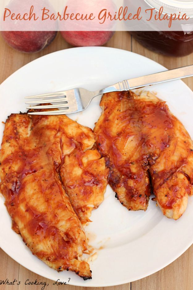 Tilapia Recipes - Peach Barbecue Grilled Tilapia - Best Recipe Ideas for Tilapia Fish - Dinner, Lunch, Snacks and Appetizers - Healthy Foods, Gluten Free Low Carb and Keto Friendly Dishes - Salads, Pastas and Easy Weeknight Dinners, Lunches for Work - Broiled, Grilled, Lemon Baked, Fried and Quick Ways to Make Tilapia #fish #healthy #recipes