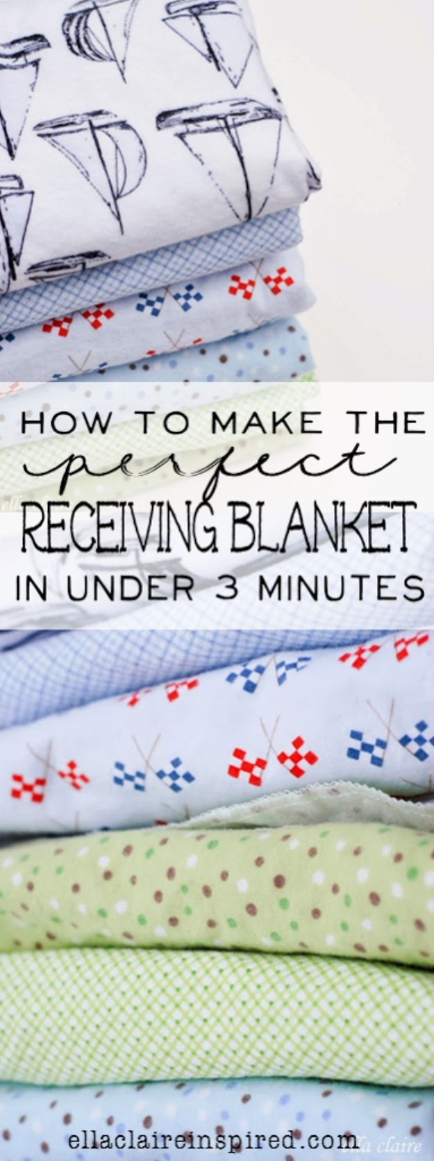 DIY Baby Blankets - Perfect Receiving Blanket In Under 3 Minutes - Easy No Sew Ideas for Minky Blankets, Quilt Tutorials, Crochet Projects, Blanket Projects for Boy and Girl - How To Make a Blanket By Hand With Fleece, Flannel, Knit and Fabric Scraps - Personalized and Monogrammed Ideas - Cute Cheap Gifts for Babies http://diyjoy.com/diy-baby-blankets