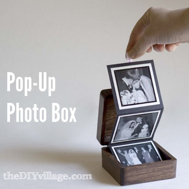 DIY anniversary Gifts - Pop-Up Photo Box - Homemade, Handmade Gift Ideas for Wedding Anniversaries - Cool, Easy and inexpensive Gifts To Make for Husband or Wife #anniverary #diy #gifts