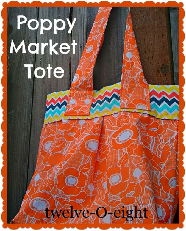 DIY Shopping Bags - Poppy Market Tote - Easy Drawstring Bag Tutorials - How To Make A Shopping Bag - Use Fabric Scraps, Old Denim Jeans, Upcycled Items - Cute Monogrammed Ideas, Painted Bags and Sewing Tutorials for Beginners s
