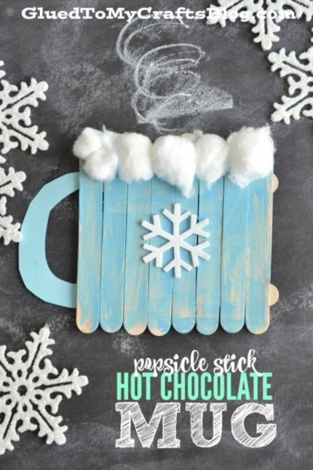 Winter Crafts for Toddlers and Kids - Popsicle Stick Hot Chocolate Mug – Kid Craft - Easy Art Projects and Craft Ideas for 2 Year Olds, Preschool Age Children - Simple Indoor Activities, Things To Make At Home in Wintertime - Snow, Snowflake and Icicle, Snowmen - Classroom Art Projects - Busy Bags and Quick and Easy Gifts - Cheap Kid Crafts From The Dollar Store and Dollar Tree http://diyjoy.com/winter-crafts-for-kids