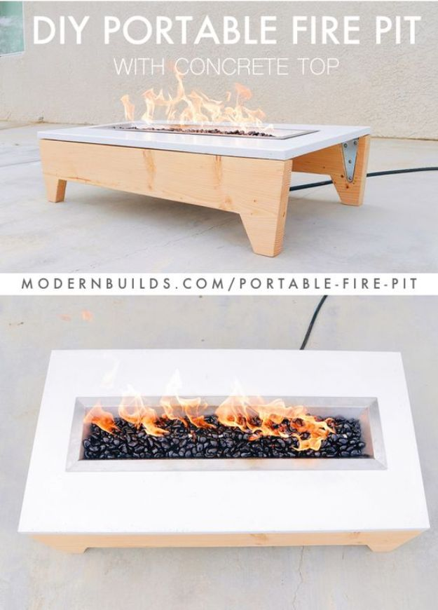 DIY Firepits - Portable Fire Pit - Step by Step Tutorial for Raised Firepit , In Ground, Portable, Brick, Stone, Metal and Cinder Block Outdoor Fireplace  #outdoors #diy